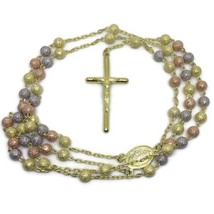sand blast on 3 tone gold layer on silver rosary